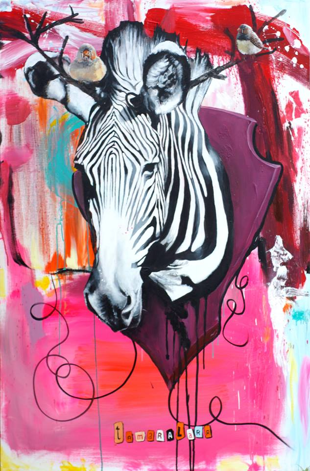 Zebra med finker - et stort maleri som blev solgt i sommeren 2015