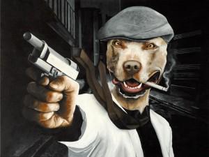 """Titel: """"Mad Dog"""" ca. 50x70 cm. Ikke til salg"""