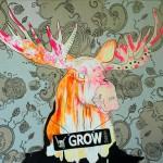 En mønstret heavy mædl moose gror horn som vi andre hår på brystet (eller i armhulen). Hvis man hænger dette billede i sit soveværelse vil det betyde virilitet. I kontoret at man skal finde hornene frem og nosse sig færdig osv. Maleriet måler 1x1 meter og er malet med akryl