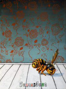 """Titel: """"Pesticidedød hveps"""" 30x40 cm. Ikke til salg"""