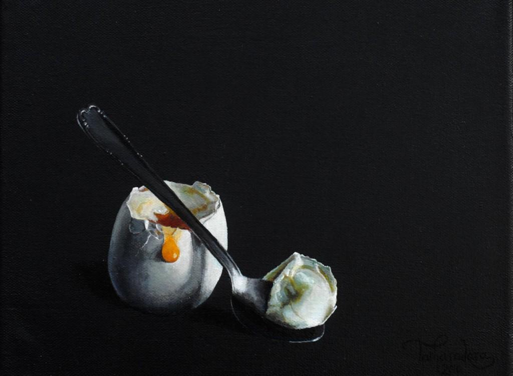 Æg med ske, 20x30 cm. Ikke til salg