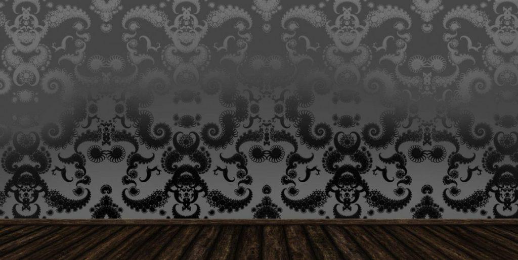 Tapetdesign – sort hunting damask med overgang og egern. Kan ikke bestilles