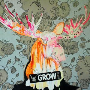 """Titel: """"Heavy mædl moose"""" 100x100 cm. Ikke til salg"""