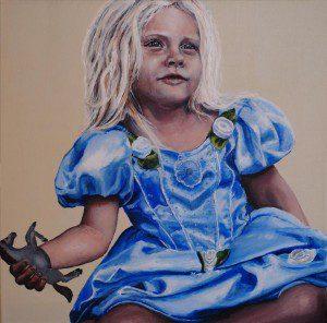 """Titel: """"Den lille prinsesse"""" 40x40 cm. Ikke til salg"""
