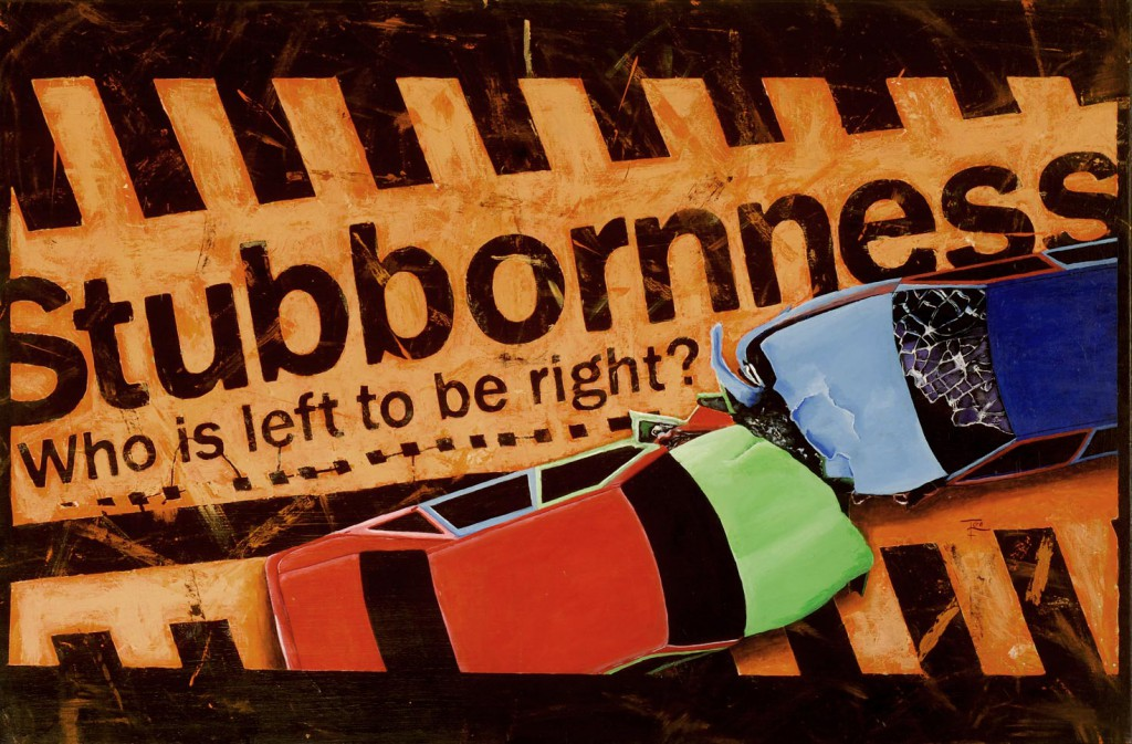 Stubbornness – Who is left to be right. 60x120 cm ikke til salg