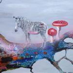 Eskapistisk eventyr hvor en lille fed zebra finder blå og lyserøde safirer. 70x100 cm