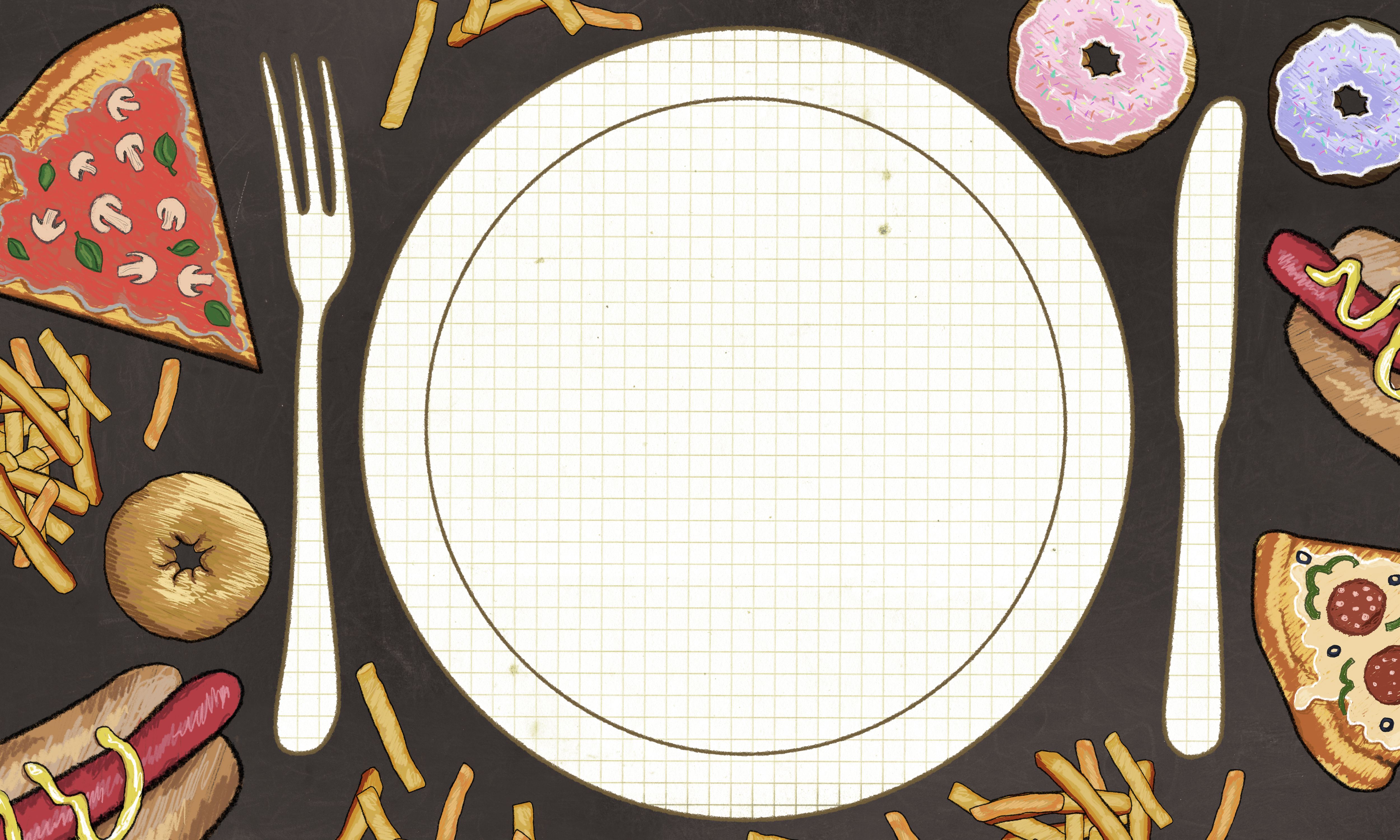 Anorexia illustrated with an empty Plate. No appetite, but lots of Foods. Blank space for writing in Center