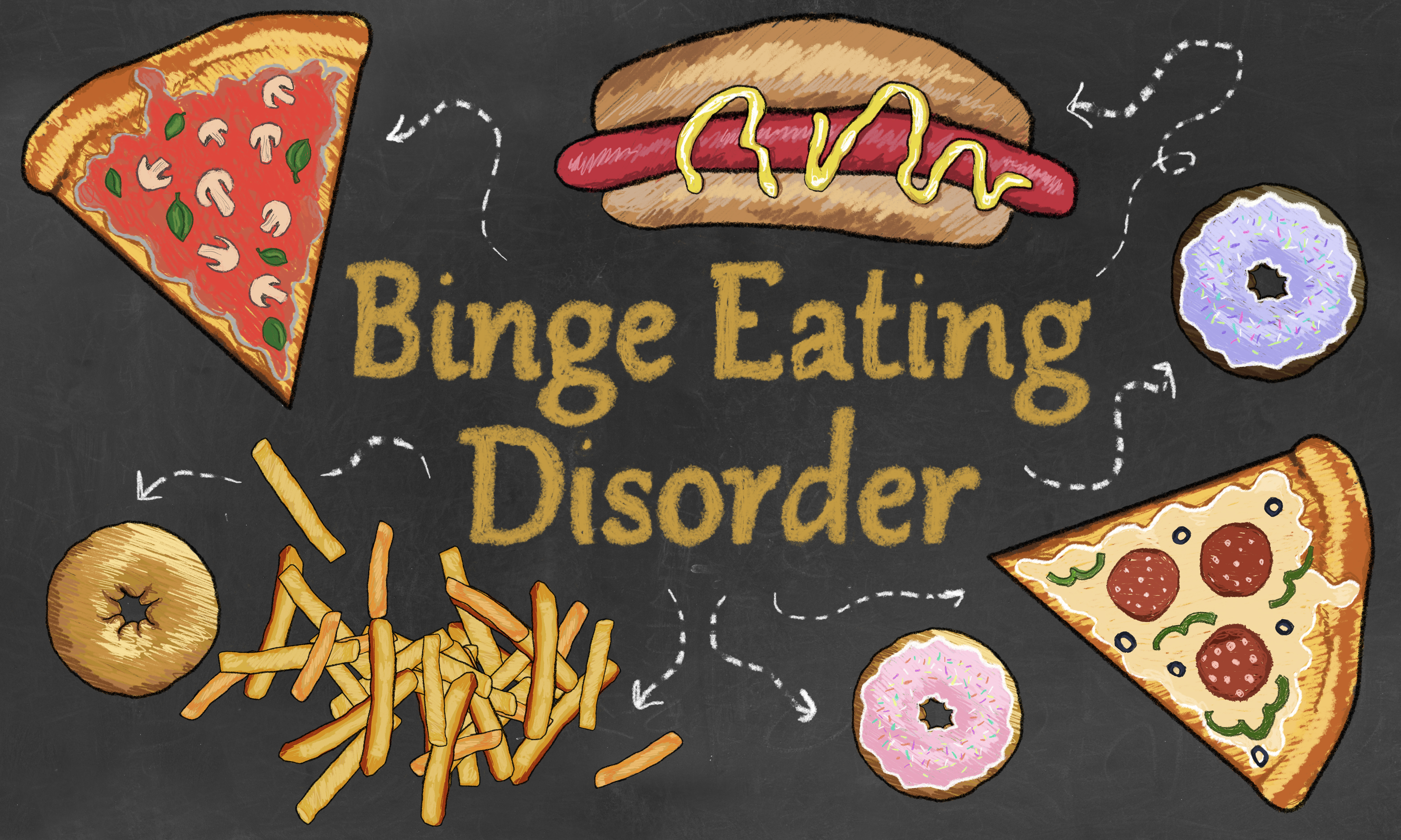 Binge Eating Disorder illustrated with Junk Food such as Pizza, French Fries and Hot Dog