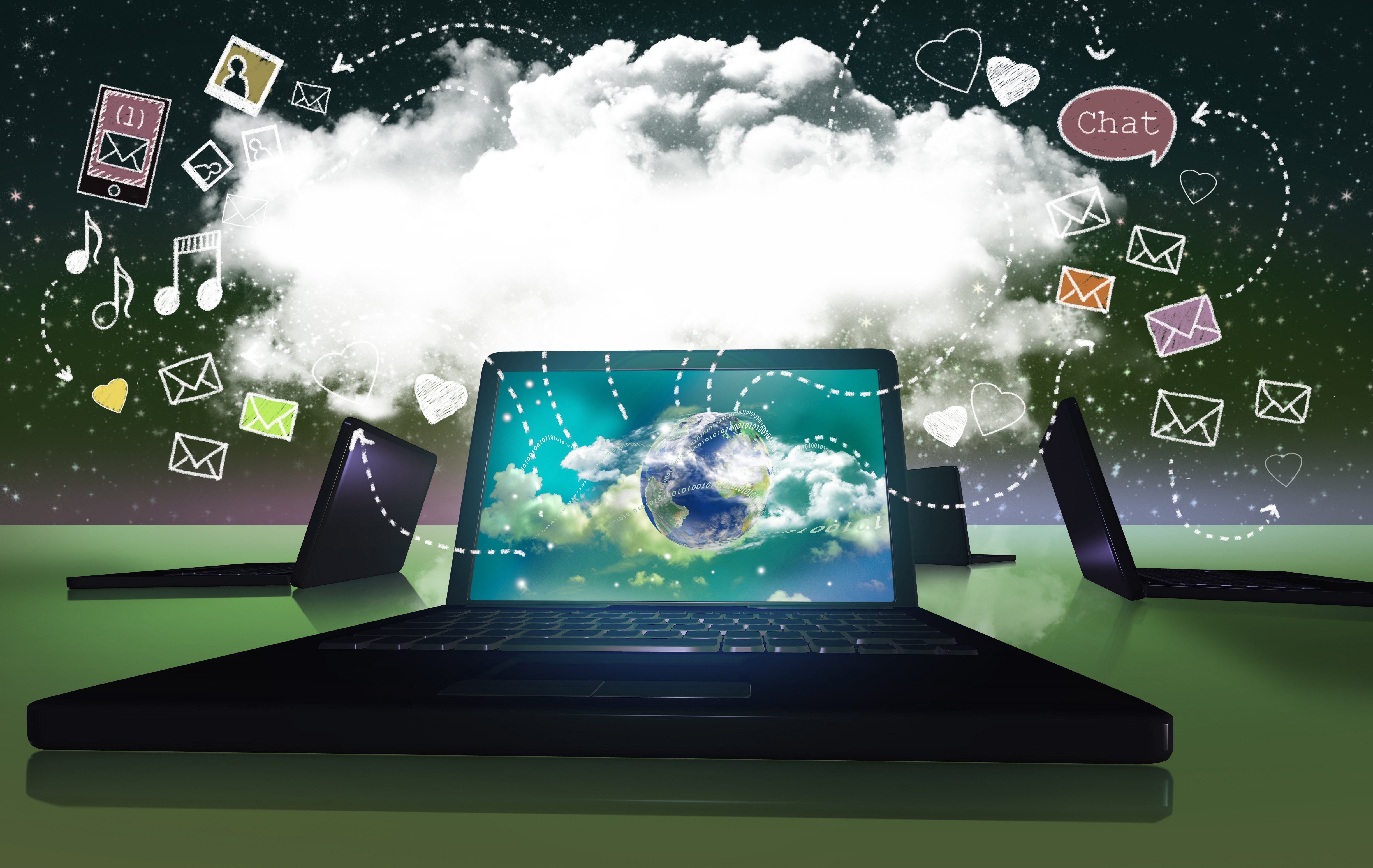 Media Traffic Concept in 3D Illustration from Laptops to Cloud or to ones Mind illustrated with a Design mix of 3D and Classic Drawing Style on a Night Sky