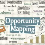 Opportunity Mapping Illustrated with Words, Robot and a Graph in Growth with Tech Words on Classic Old Paper